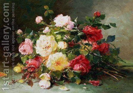 A Bouquet of Roses by Eugene Henri Cauchois - Reproduction Oil Painting