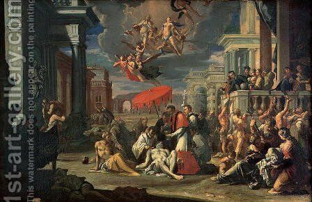 St. Charles Borromeo Administering the Sacrament to Plague Victims in 1576 by Sigismondo Caula - Reproduction Oil Painting