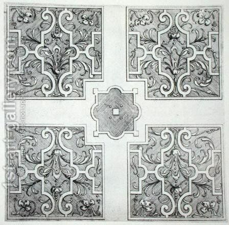 Parterre designs from 'The Gardens of Wilton', published c.1645 by Isaac de Caus - Reproduction Oil Painting