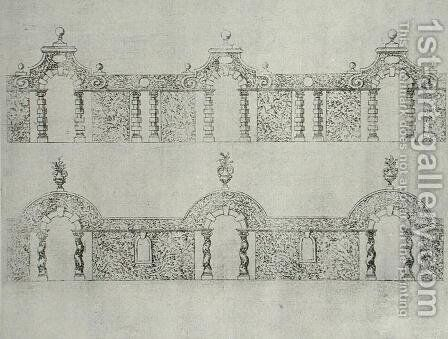 Topiary arcaded walkway designs from 'The Gardens of Wilton'  c.1645 by Isaac de Caus - Reproduction Oil Painting