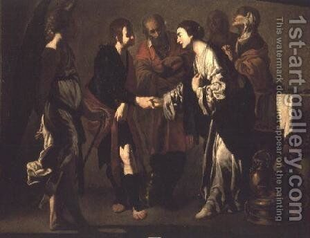 The Betrothal of Tobias by Bernardo Cavallino - Reproduction Oil Painting