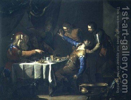The Murder of Amnon by his brother Absalom by Bernardo Cavallino - Reproduction Oil Painting