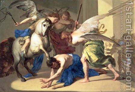 The Expulsion of Heliodorus from the Temple, c.1650 by Bernardo Cavallino - Reproduction Oil Painting