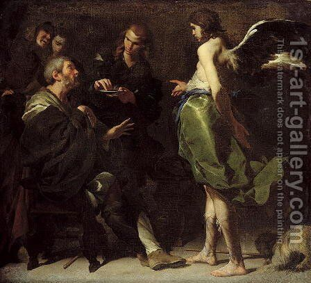 The Young Tobias Heals his Blind Father, c.1640s by Bernardo Cavallino - Reproduction Oil Painting