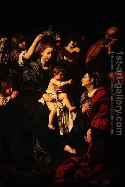The Holy Family with St.Catherine by Bartolomeo Cavarozzi - Reproduction Oil Painting