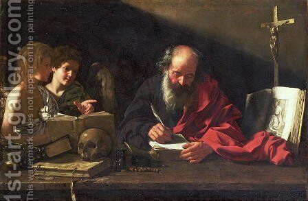 St. Jerome in his Study by Bartolomeo Cavarozzi - Reproduction Oil Painting