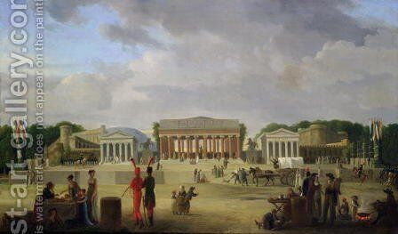 View of the Grand Theatre Constructed in the Place de la Concorde for the Fete de la Paix, 9th November 1801 by Jean-Baptiste-Louis Cazin - Reproduction Oil Painting