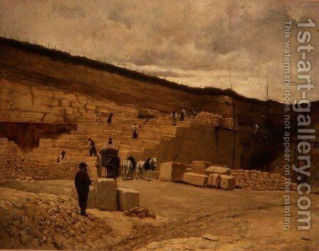 Monsieur Pascal's Quarry near Nanterre by Jean-Charles Cazin - Reproduction Oil Painting
