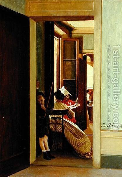 The Interrupted Game, 1863-67 by Adriano Cecioni - Reproduction Oil Painting