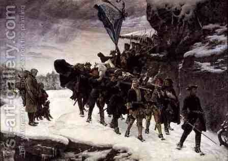 Bringing Home the Body of King Carl XII of Sweden (1682-1718) 1884 by Gustaf Olaf Cederstrom - Reproduction Oil Painting