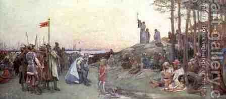 Ansgar Preaching Christianity, 1889 by Gustaf Olaf Cederstrom - Reproduction Oil Painting