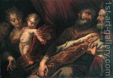 The Infant Moses Standing on the Pharaoh's Crown by Andrea Celesti - Reproduction Oil Painting