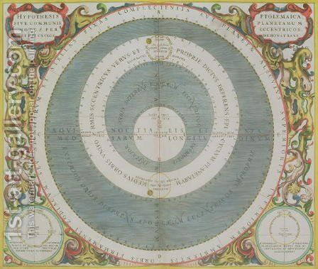 Ptolemaic System, from 'The Celestial Atlas, or The Harmony of the Universe', 1660-61 by Andreas Cellarius - Reproduction Oil Painting
