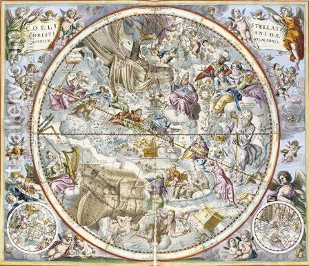 Map of the Christian Constellations as Depicted by Julius Schiller, from 'The Celestial Atlas, or The Harmony of the Universe' by Andreas Cellarius - Reproduction Oil Painting