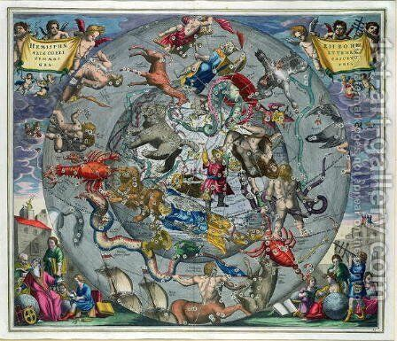 Map of the Constellations of the Northern Hemisphere, from 'The Celestial Atlas, or The Harmony of the Universe' by Andreas Cellarius - Reproduction Oil Painting