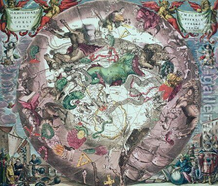 Constellations of the Southern Hemisphere, from 'The Celestial Atlas, or the Harmony of the Universe' by Andreas Cellarius - Reproduction Oil Painting