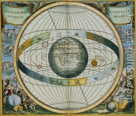Map Showing Tycho Brahe's System of Planetary Orbits Around the Earth, from 'The Celestial Atlas, or The Harmony of the Universe' by Andreas Cellarius - Reproduction Oil Painting