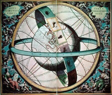 "World map with encircling zodiac, 'Situs Terrae Circulis Coelestibus Circundate"", from 'The Celestial Atlas, or the Harmony of the Universe' by Andreas Cellarius - Reproduction Oil Painting"