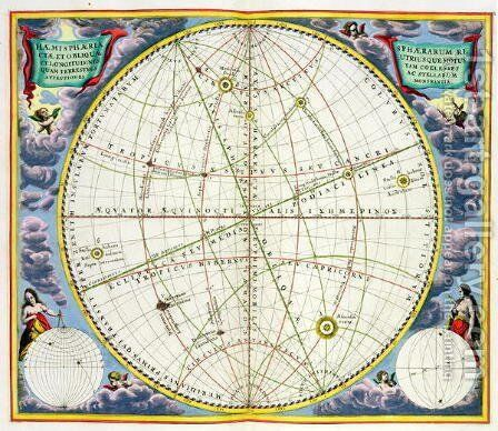 Map Charting the Movement of the Earth and Planets, from 'The Celestial Atlas, or The Harmony of the Universe' by Andreas Cellarius - Reproduction Oil Painting