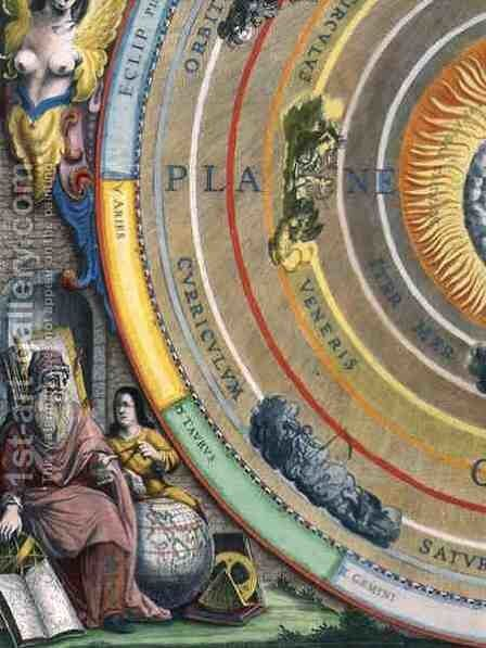 An Astronomer, detail from a map of the planets, from 'The Celestial Atlas, or The Harmony of the Universe' by Andreas Cellarius - Reproduction Oil Painting