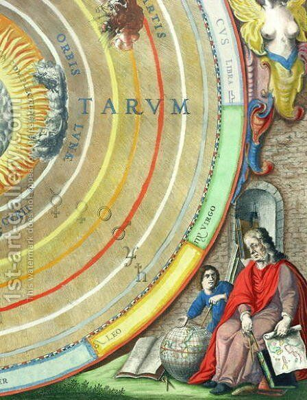 An Astronomer, detail from a map of the planets, from 'A Celestial Atlas, or The Harmony of the Universe' by Andreas Cellarius - Reproduction Oil Painting