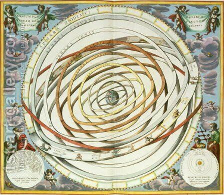 Planetary orbits, plate 18 from 'The Celestial Atlas, or the Harmony of the Universe' by Andreas Cellarius - Reproduction Oil Painting