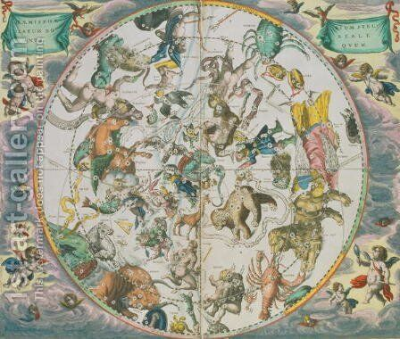 Celestial Planisphere Showing the Signs of the Zodiac, from 'The Celestial Atlas, or The Harmony of the Universe'  (2) by Andreas Cellarius - Reproduction Oil Painting