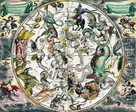 Map of the Southern Hemisphere, from 'The Celestial Atlas, or The Harmony of the Universe' (3) by Andreas Cellarius - Reproduction Oil Painting