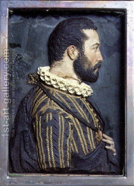 Portrait Relief of Francis I, King of France (1494-1547) by Benvenuto Cellini - Reproduction Oil Painting