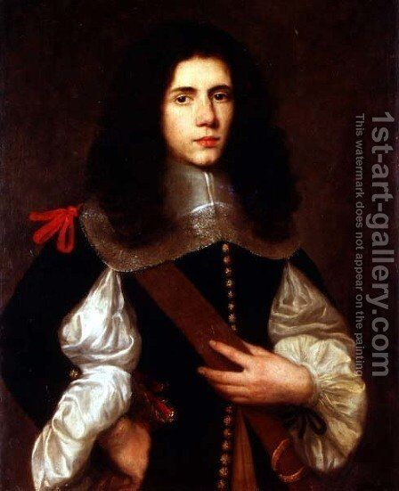 Portrait of a young gentleman in a black slashed doublet by Circle of Ceresa, Carlo (1609-1679) - Reproduction Oil Painting