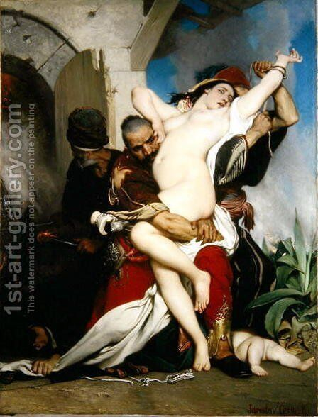 The Abduction of a Herzegovenian Woman, 1861 by Jaroslav Cermák - Reproduction Oil Painting