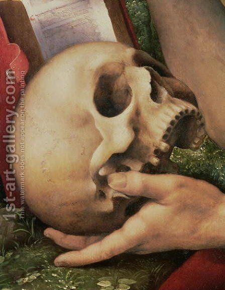 St. Jerome  (detail of the skull) by Cesare da Sesto - Reproduction Oil Painting