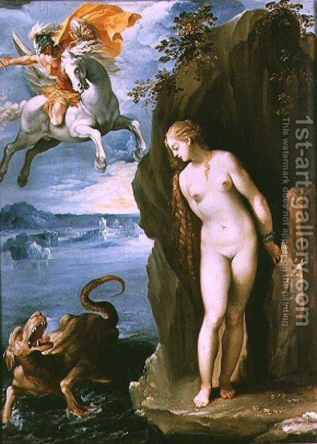 Perseus Rescuing Andromeda, 1602 by Giuseppe (d'Arpino) Cesari (Cavaliere) - Reproduction Oil Painting