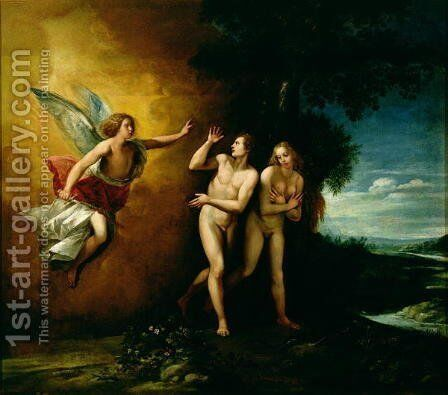 The Expulsion of Adam and Eve by Giuseppe (d'Arpino) Cesari (Cavaliere) - Reproduction Oil Painting