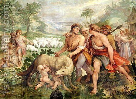 Romulus suckled by the she-wolf, from the Sala dei Horatii e Curacii by Giuseppe (d'Arpino) Cesari (Cavaliere) - Reproduction Oil Painting