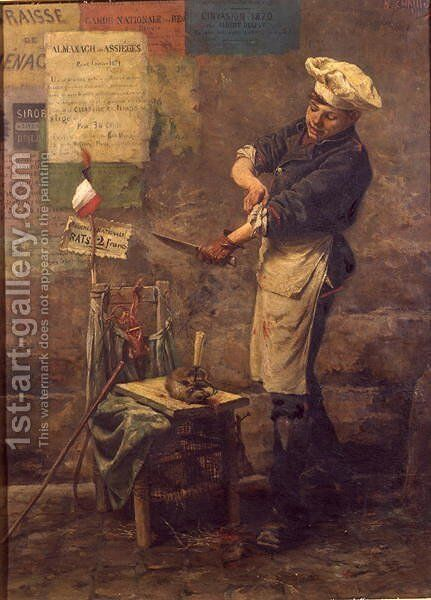 Rat Seller during the Siege of Paris, 1870 by Narcisse Chaillou - Reproduction Oil Painting