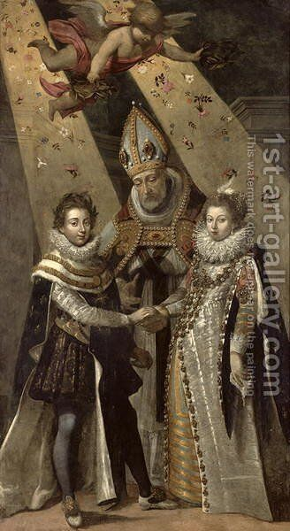 The Marriage of Louis XIII (1601-63) King of France and Navarre and Anne of Austria (1601-66) Infanta of Spain, in 1615 by Jean Chalette - Reproduction Oil Painting