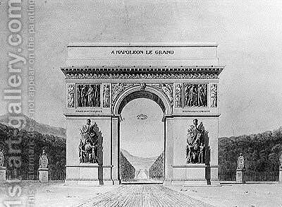 Design for the Arc de Triomphe with a wooded background by Circle of Chalgrin, Jean Francois Therese - Reproduction Oil Painting