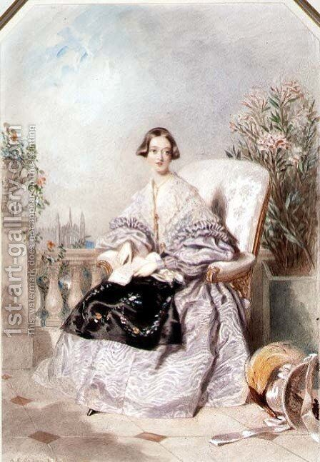 Queen Victoria, 1838 by Alfred-Edward Chalon - Reproduction Oil Painting