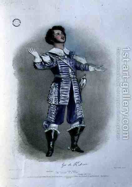 Giovanni Battista Rubini (1794-1854) as Arturo in 'I Puritani', from 'Recollections of the Italian Opera' by Alfred-Edward Chalon - Reproduction Oil Painting
