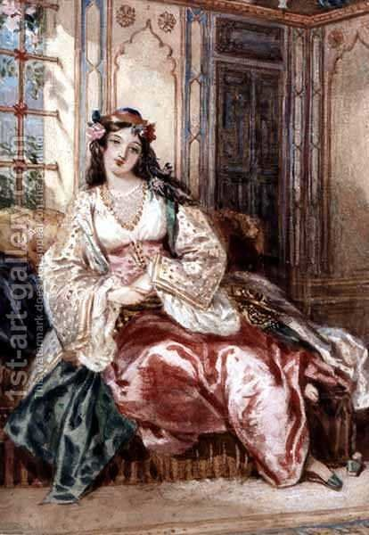 A Lady Seated in an Ottoman Interior Wearing Turkish Dress, 1832 by Alfred-Edward Chalon - Reproduction Oil Painting