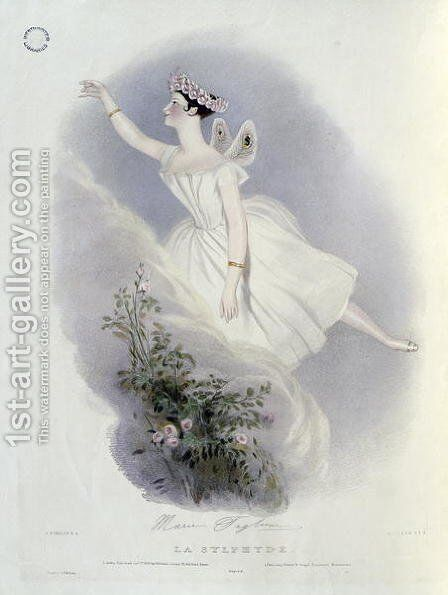 Marie Taglioni (1804-84) in 'La Sylphide', 1836 by Alfred-Edward Chalon - Reproduction Oil Painting