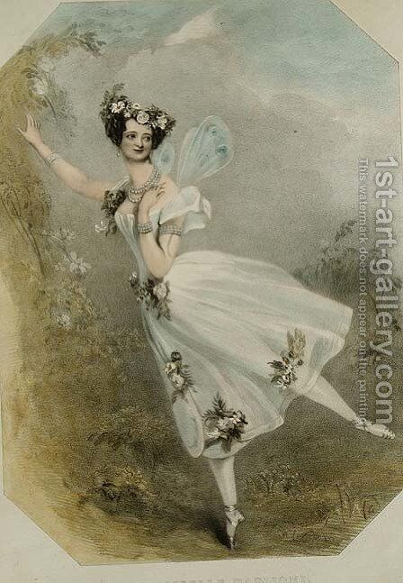 Marie Taglioni (1804-84) in 'Flore et Zephire', c.1830 by Alfred-Edward Chalon - Reproduction Oil Painting