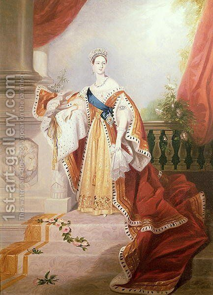 Portrait of Queen Victoria in Coronation Robes by Alfred-Edward Chalon - Reproduction Oil Painting