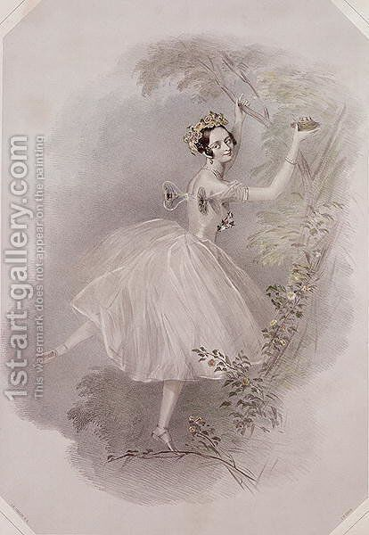 Marie Taglioni (1804-84) as the Sylph in 'La Sylphide', c.1832 by Alfred-Edward Chalon - Reproduction Oil Painting