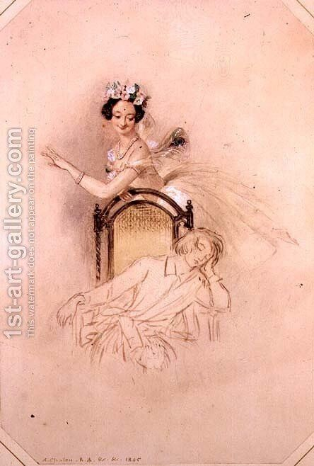 La Sylphide hovers beside the seated sleeping James, Marie Taglioni (1804-1884) in Act I of a performance of 'La Sylphide, Souvenir D'Adieu' 1845 by Alfred-Edward Chalon - Reproduction Oil Painting