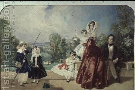 Mr. and Mrs. George Knott, with four children, on the Terrace of Bohun Lodge, New Barnet by Alfred-Edward Chalon - Reproduction Oil Painting