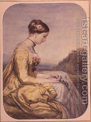 Seated Lady in a Yellow Dress by Alfred-Edward Chalon - Reproduction Oil Painting