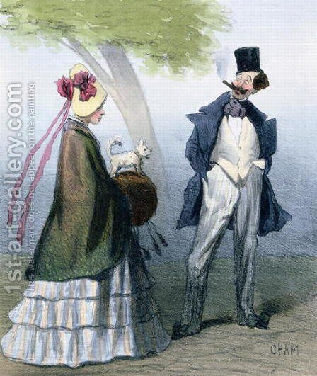 'We gentlemen all love virtuous maidens', caricature depicting a bounder or cad admiring a pretty girl by Amedee Charles Henri de Noe (Cham) - Reproduction Oil Painting