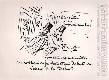 Caricature of the first Impressionist Exhibition in Paris, 'Revolution in Painting! And a terrorizing beginning', 1874 by Amedee Charles Henri de Noe (Cham) - Reproduction Oil Painting